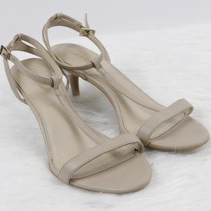 3c56733ad299 Calvin Klein Lola T strap nude heels